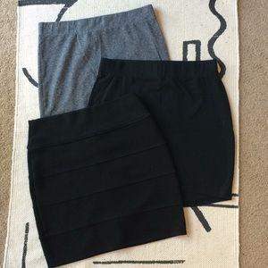 Lot of 3 cotton jersey mini skirts